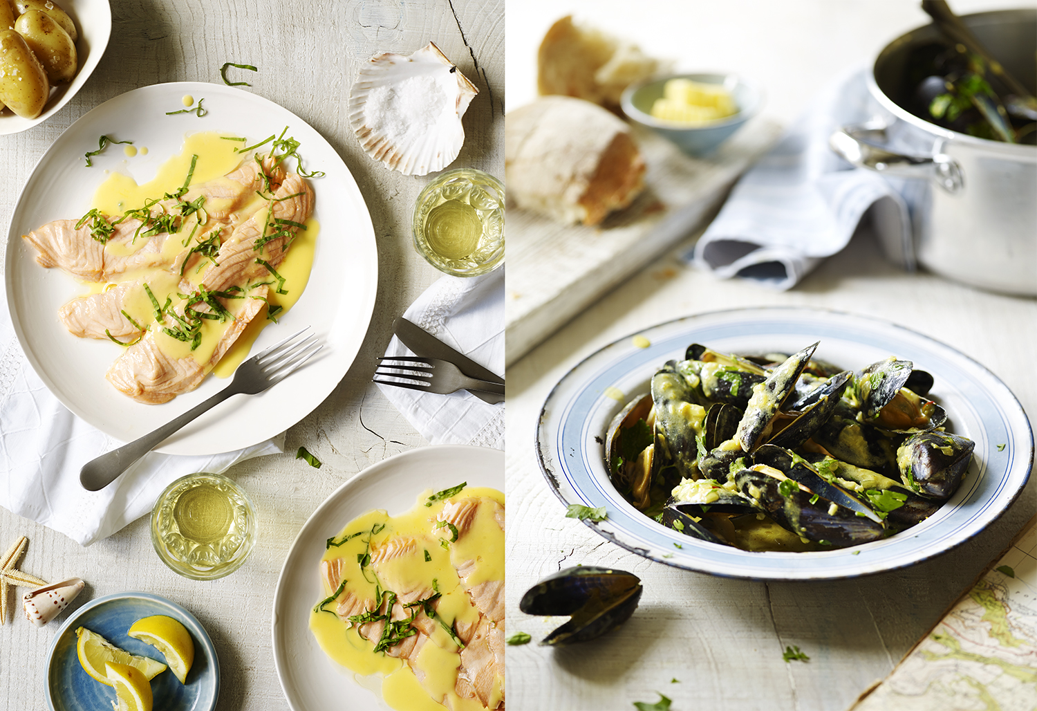 Rick Stein & The Seafood Restaurant 40th Anniversary feature in Delicious magazine - food photography, Salmon and Muscles