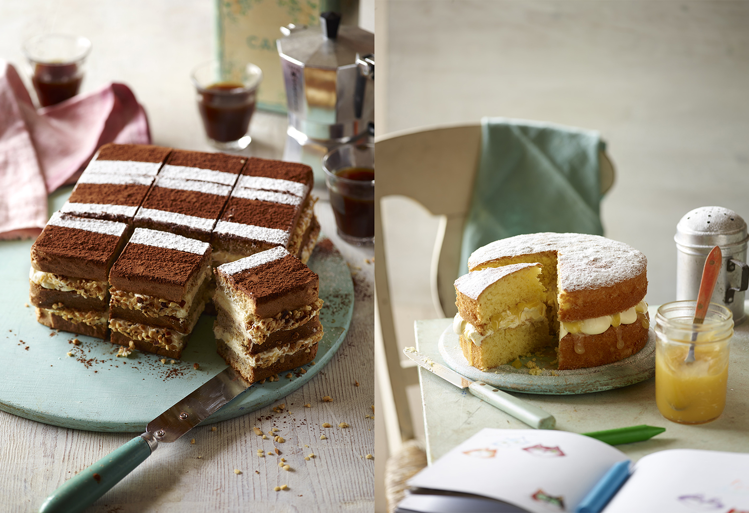 Sainsbury's Baking Book - Hazelnut Coffee Gateau Photo by Food Photographer Lauren Mclean