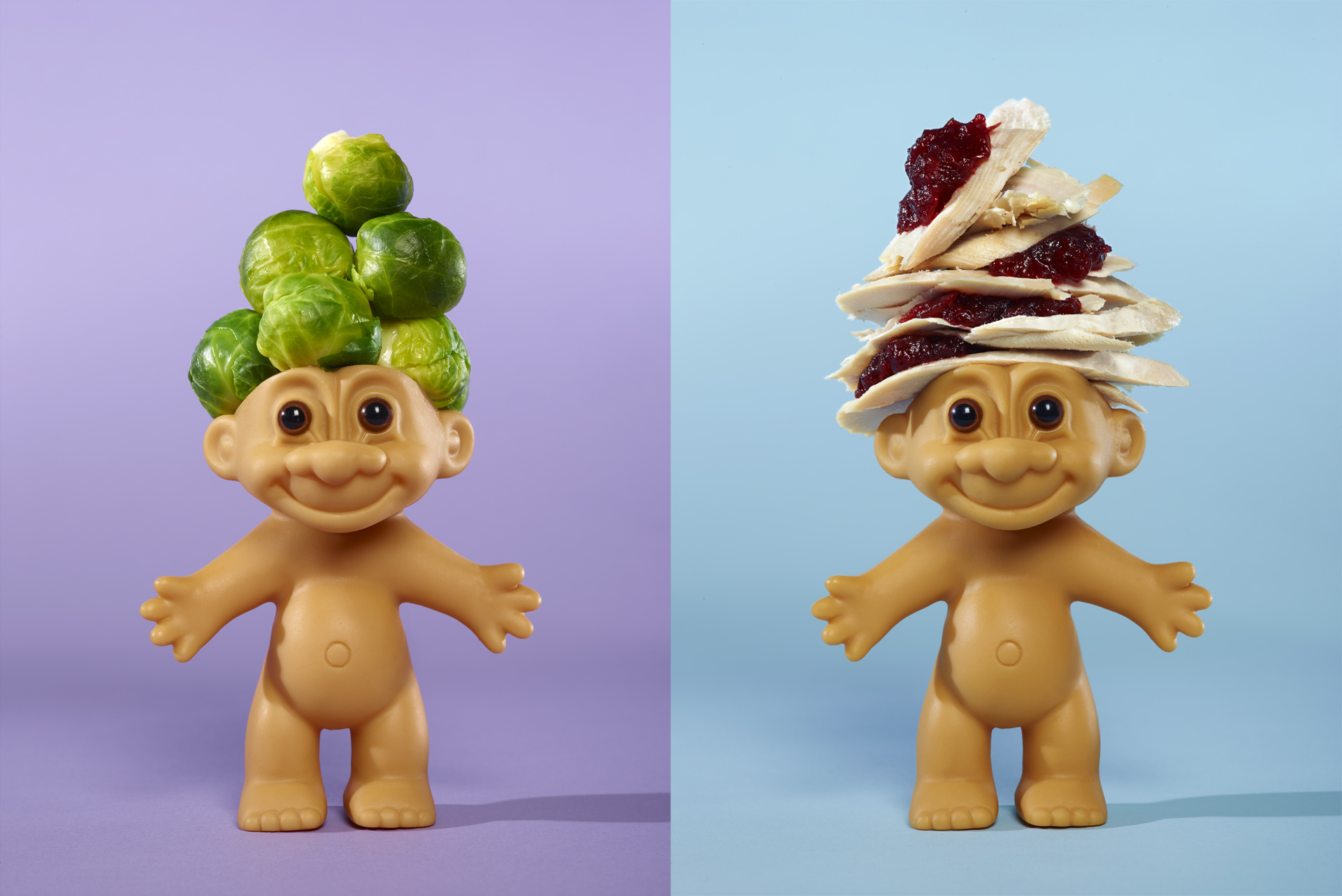 Two from my series the 12 trolls of Christmas. The Turkey and cranberry Troll and the sprout troll. Food photographer Lauren Mclean.