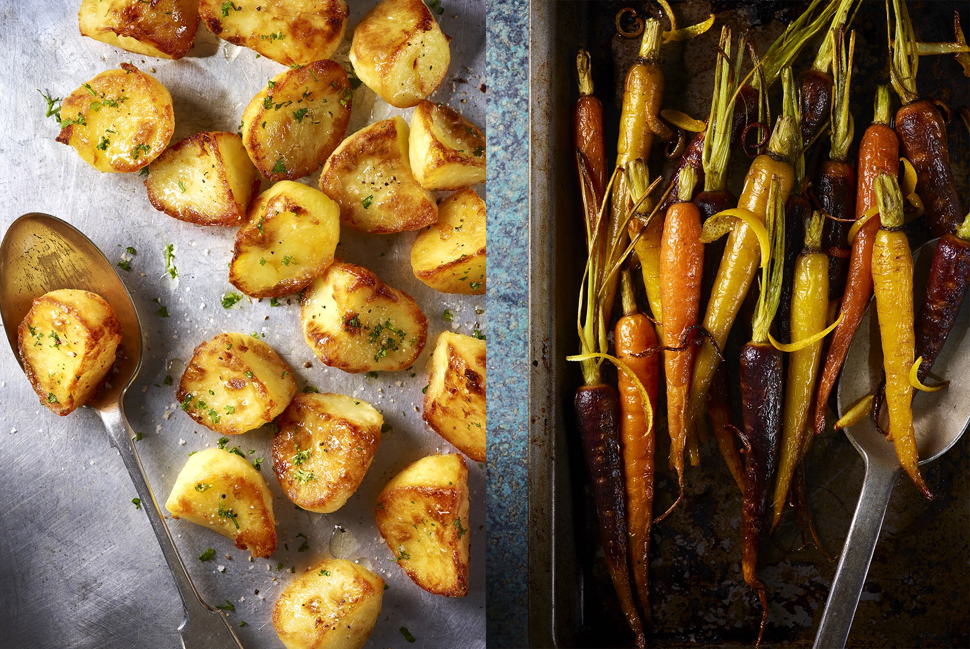 Delicious roast potatoes and roast carrots on baking trays. Food photographer Lauren Mclean