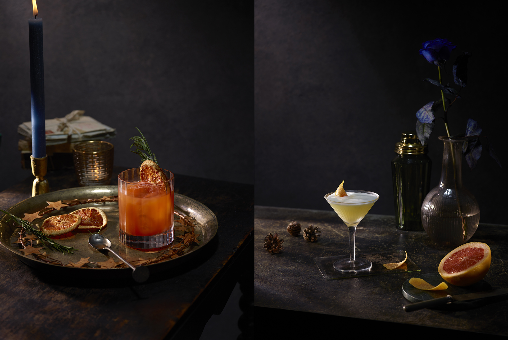 Part of my Christmas series from 2019, my Bllo Orange Negroni recipe and Gin Martini recipe. Drink photographer Lauren Mclean.