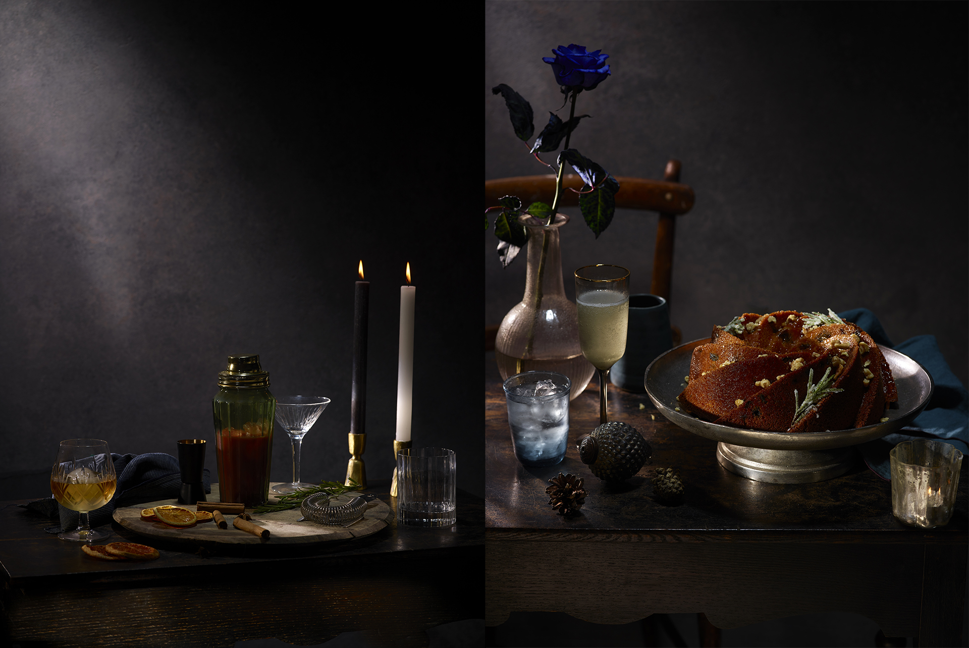 Two images from my Christmas 2019 campaign - A cocktail incidental and a Bundt cake. Food and drink photography by Lauren Mclean